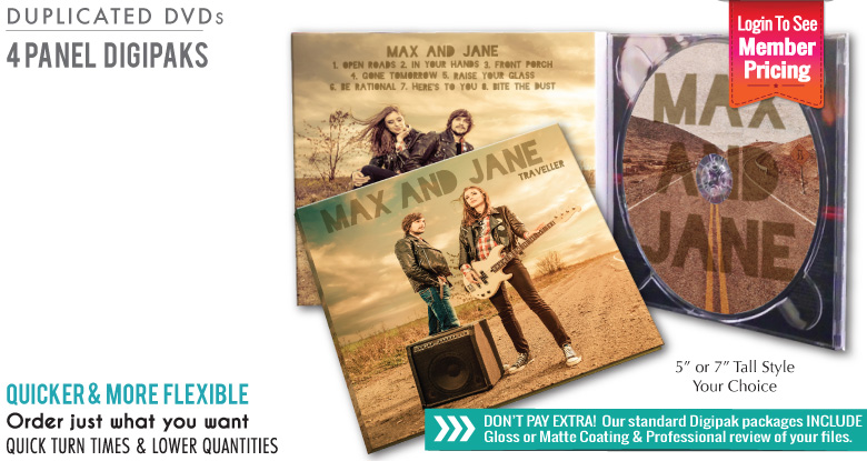 4 Panel Digipak with Duplicated DVDs