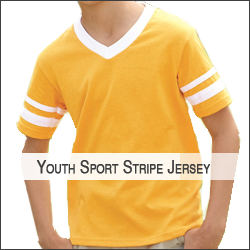 S-Augusta Sportswear AG361 Youth V-Neck Jersey with Striped Sleeves